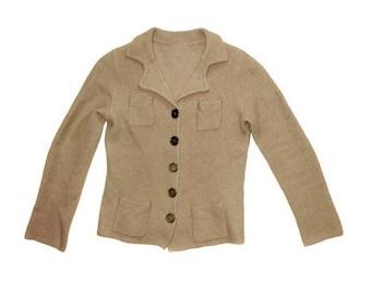 Vintage women blazer vest beige 100% wool metal buttons