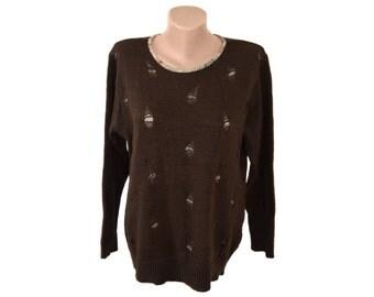 Vintage Pina Lia women top blouse brown