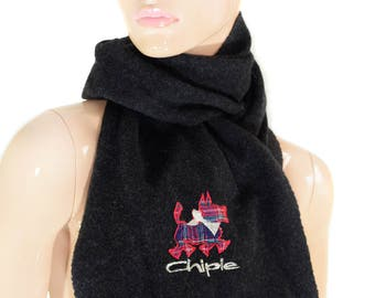 Vintage Chipie scarf wool embroidery patch logo dog black