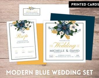 Wedding Invitations, Wedding Invitation, Personalized, Wedding Invites, RSVP card, RSVP's, Wedding invitation set, modern blue