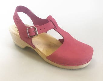 LOTTA SPECIAL one-off! Swedish Clogs T-Bar Low Wood Pink Nubuck Leather by Lotta from Stockholm / Wooden Clogs / Low Heel / Shoes EUR 39