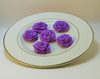 Ribbon Roses 6 pcs 1""