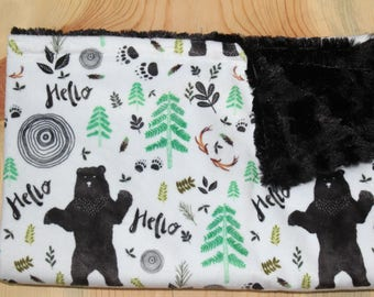 Hello Bears Lovey- Woodland Baby Lovey- Rustic Baby Blanket- Minky Security Blanket- Baby Shower Gift