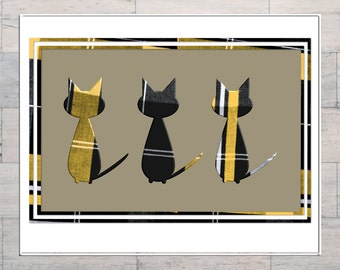 Tartan Cat, Scottish, Scotland, Cats, Cat Lovers, Tartan Art, Fabric, Printable, Instant Download, Digital Download, Digital Art, Multi Size