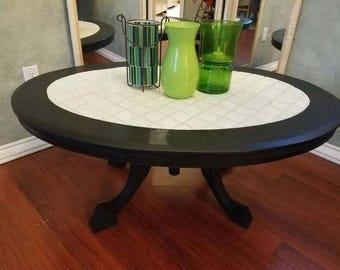 Unique Vintage Mosaic Tile Top Coffee Table - Black and White