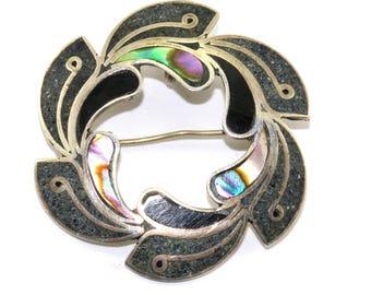 Vintage Blossom Shape Abalone Leaf Design Pendant/Brooch 925 Sterling BB 726-E