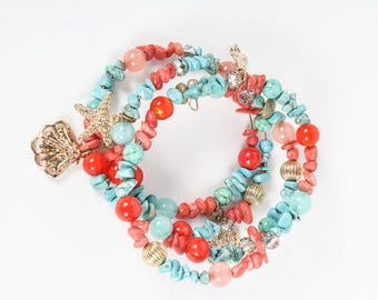 Turquoise and Carnelian bracelet - guaranteed turquoise and carnelian
