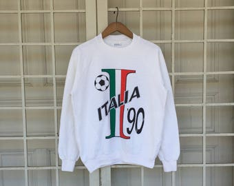 Vintage 90s Italia Sweatshirt Big Logo Spell Out Medium Size