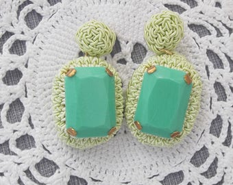 Green earrings with Bezel wire Pin and Worked