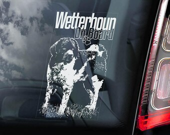 Wetterhoun on Board - Car Window Sticker - Welshie Dog Sign Decal - V01