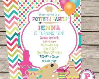 Painting Pottery Party Birthday Invitation Front Back Pink Chevron Digital File Only