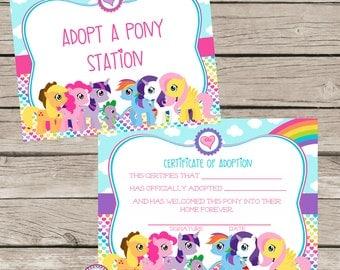 Pony Adoption Certificate Horse Birthday Party Ideas Rainbows Unicorns Horseback Riding Adopt a Pony Party Invitation Rainbow