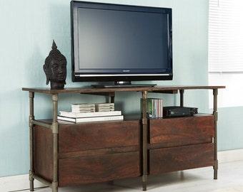 Santara wood & metal dark walnut finish 4 drawer tv unit - Industrial finish
