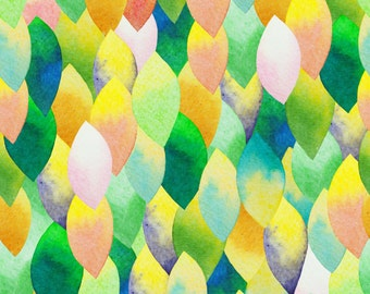 Water Colour Leaves fabric