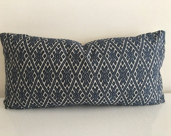 READY TO SHIP Indigo Diamond Bolster by Kravet - 12x24 Pillow Cover