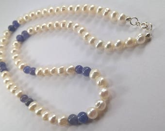 Genuine Tanzanite and Cultured Pearl with 925 Sterling Silver Necklace. Tanzanite and pearl necklace, pearl necklace, bridal necklace.