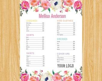 Price List Poster, Skirts Dresses Shirts and Leggings Price List Sign Digital File LLR003