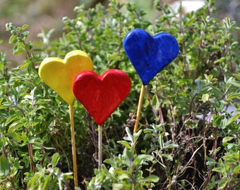 3 Hearts on a stick Set. Handmade colorfull heartstick.. Perfect for valentines day. Wedding Decor. Garden Decor
