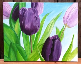 Acrylic painting spring tulips flower Easter gift gift idea