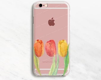 Tulips iPhone 7 Case Clear Floral iPhone 6 Case Flower iPhone 6 Plus Case Tulip iPhone Case Watercolor iPhone iPhone 7 Plus Case 5s 5