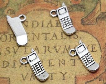 10pcs cellphone Charms silver tone cellphone charm pendants 17x9mm ASD1889