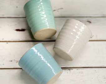 Handmade Ceramic Tumblers in Blue or Green Ready to Ship