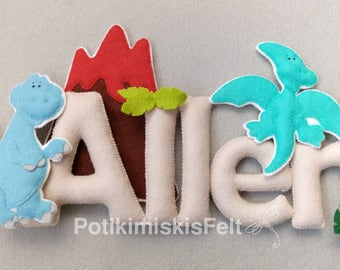 Dinosaurs, custom felt lyrics, name of custom felt, felt decoration, crafts