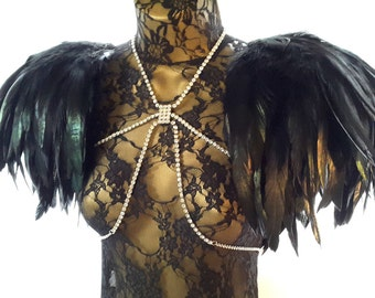 Black feather epaulettes. Large black wings and adjustable crystal body harness chain. Perfect for Burning Man. 'Black Swan'