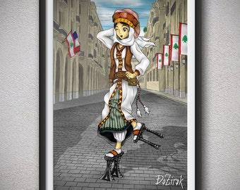Anime girl art Ethnic clothing Ethnic dress Arabian clothing Arabian girl Happy dancing girl Weird shoes Platform shoes Lebanon Street alley