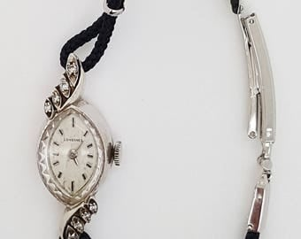 A Longines 14k white gold ladies vintage manual watch