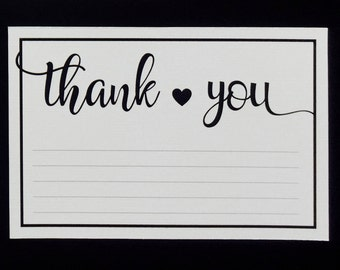 Elegant Wedding Thank You card - Black and White - Hearts - Greeting Card