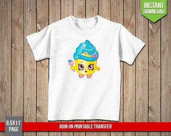 SHOPKINS Cupcake Queen Iron On Printable Transfer - Cupcake Iron Ons Transfer T-Shirt Decoration - Digital PNG File, Instant Download