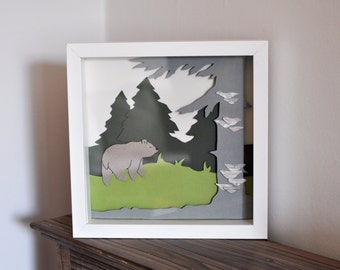 Picture forest with bear in 3D