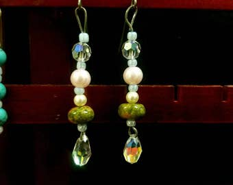 Earthy spring earrings with swarovski crystals