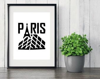 Paris Wall Art, Black and White Art, Paris Art Work, Minimalist Artwork, Paris Decor, Paris Art, Typography