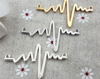 10pcs Fashion Electrocardiogram charm Necklaces Pendants Wave Charms , Heartbeat Charms for Necklace Accessories Jewelry