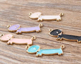 10Pcs Golden Oil Cartoon Puppy Charms , Bracelet/Necklace Charms Enamel Alloy Animal Dachshund Dog Pendant Charm Crafts Jewelry 5 colors