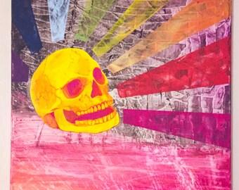 Breadhead Rainbow Skull painting, Rainbow art, pop art painting , rainbow painting , skull painting, Acrylic painting, gay painting