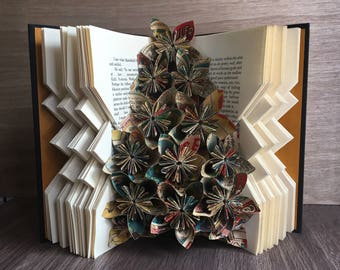 Turquoise Lament Book Art Sculpture - Comic Book Flowers - Folded Book Art - Altered Books - Book Folding - Unique Home Decor - Nerdy Gift