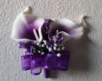 Purple Ivory Real Touch Calla Corsage or Boutonniere