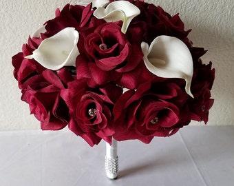 Burgandy Rhinestone Rose Calla Lily Bridal Bouquet & Boutonniere