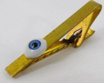 Unique & Bizarre EYEBALL TIE CLIP Tie Tack Mixed Media Assemblage Jewelry L2