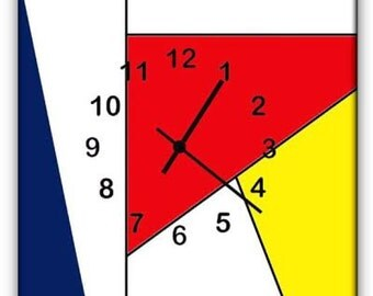 MONDRIAN VERTICAL-sided printed plexiglass design wall clock with original designs