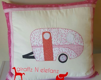 Pink and red vintage caravan cushion