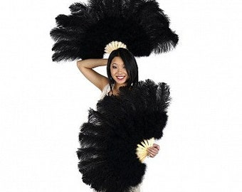 Ostrich and Marabou Feather Fan - P4