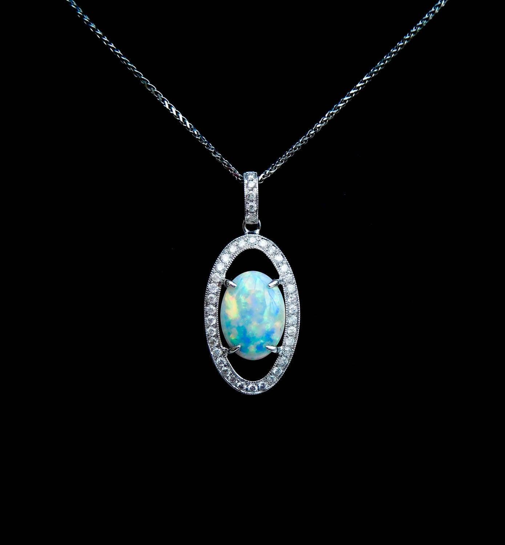 Diamond Necklace Wedding Gift : 18ct, opal & diamond pendant, opal wedding gift, opal anniversary gift ...