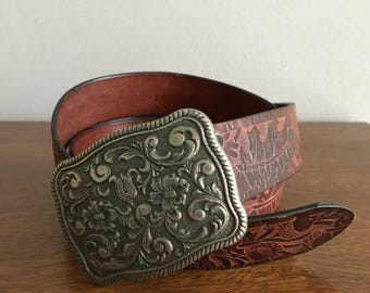 vintage 70s tooled leather belt made in usa