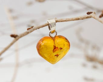 Genuine Baltic Amber Heart  Pendant Charm with Sterling Silver
