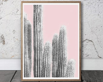 Pink Wall Art cactus print large cactus wall art digital print pastel