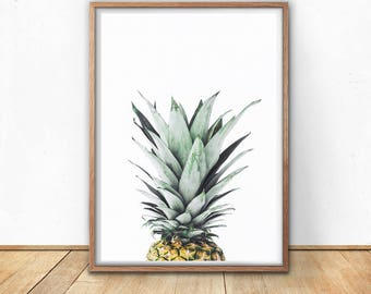 Pineapple Print - Pineapple Poster, Digital Art Print, Pineapple Decor, Pineapple Photo, Tropical Wall Art, Cactus Art, Fruit Print, Green